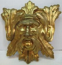 Exquisite 19c Antique Brass Figural Face Ornate High Relief Scary Architectural