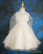 50% OFF SALE White Wedding Flower Girl Bridesmaid Party Dress Kids Size 5 FG028