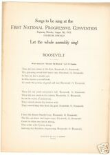 Teddy Roosevelt Campaign Sheet Music