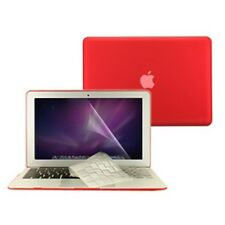 """3 in 1 Rubberized RED Case for Macbook AIR 13"""" A1369 + Key Cover + LCD Screen"""