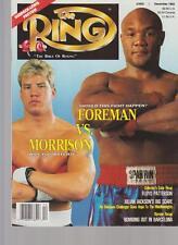 THE RING MAGAZINE TOMMY MORRISON-GEORGE FOREMAN BOXING HOFer COVER DECEMBER 1992