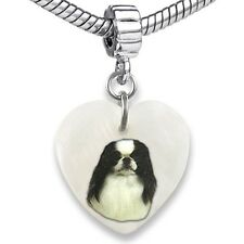 Japanese Chin Heart Dangle Mother Of Pearl European Bracelet Charm Bead Ebs210
