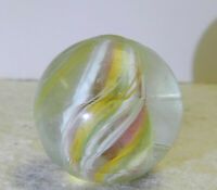 #12507m Vintage German Handmade Divided Ribbon Swirl Shooter Marble .88 Inches