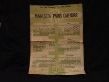SUPER RARE Minnesota Twins 1970 St. Paul Pioneer Press Clip-N-Save Schedule COOL