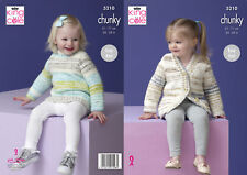 Easy Knit Girls Knitting Pattern Sweater Jumper Cardigan King Cole Chunky 5210