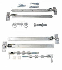 "Adjustable Galvanised 36"" Hook & Band Gate Hinge Set for Double Gates / Doors"