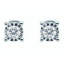 Stud Excellent Cut White Gold I1 Fine Diamond Earrings