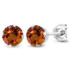 Topaz 925 Silver Stud Earrings 1.20 Ct Round Shape Orange Mystic