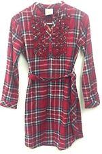 NEW Girls 14 Crazy 8 Flannel Plaid Ruffle Placket Dress Tunic NWT