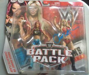 Charlotte Flair Signed Wwe Battle Pack #47 Sasha Banks Mattel Autographed