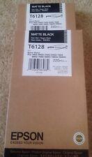 (2) Epson Genuine 220ml T6128 Matte Black Brand New! NIB. Lot Of 2. Stylus Pro