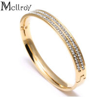 18cm CZ zircon titanium stainless steel love cuff bangle crystal lover bracelets