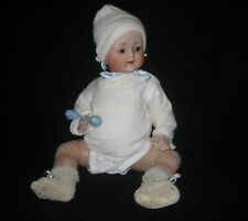 "22"" All Bisque Jointed Baby Doll - glass eyes - painted hair"