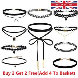 Black Choker Necklace Set Stretch Velvet Classic Gothic Tattoo Lace Retro UK