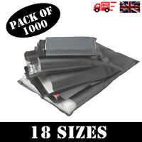 1000 x STRONG QUALITY GREY POLY MAILING BAGS POSTAGE POSTAL SELF SEAL -18 SIZES!