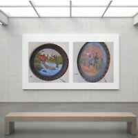 2 tableaux posters carrés diptyque art déco papier assiette bois Madagascar O425