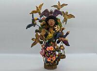 Oaxaca Woman 15 Birds, Clay Woman Figurine, Original Handmade Mexican Folk Art