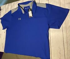 NWT Under Armour Men's Blue Heat Gear Loose Fit Short Sleeve Polo Shirt Sz 3XL