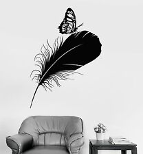 Vinyl Wall Decal Feather Butterfly Room Decoration Stickers (639ig)