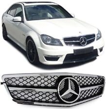 CALANDRE MERCEDES CLASSE C W204 NOIR BRILLANT + CHROME LOOK C63 AMG SL DESIGN