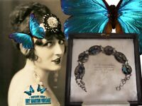 FRENCH ANTIQUE ART DECO SOLID SILVER BUTTERFLY WING BRACELET BEAUTIFUL GIFT