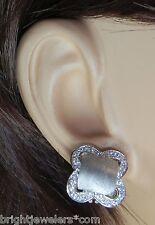 Simple 14k Brushed White Gold Squared Omega Back Earrings