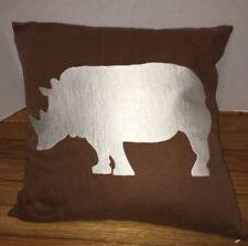 Embroidered RHINO on Dark BROWN 18x18 Pillow Sham Cotton Linen Home Decor NEW