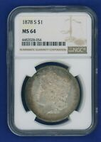 1878 S NGC MS64 Morgan Silver Dollar $1 Better Date 1878-S NGC MS-64