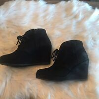Lace Up Booties Wedges Women's Size 6 Black