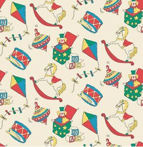 Vintage Toys - Cream Polycotton Printed Novelty Craft Bunting Patchwork fabric