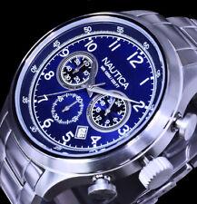 Nautica Uhr Herrenuhr Armbanduhr Blau Silber Farben 10 Atm Chronograph