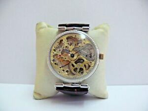 RARE SOVIET MOLNIJA *SKELETON* 18 JEW. Oversized wristwatch, ^NO RESERVED^!
