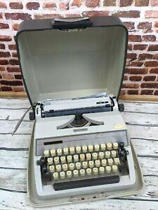Vintage Adler J2 Portable Typewriter with Carrying Case Metal 70's Tested Works