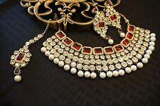 Indian Bridal Bollywood Kundan Pearl Fashion Gold Tone Jewelry Necklace Set