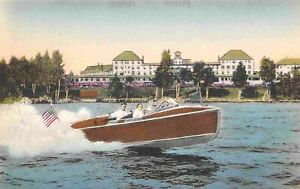 Motor Speed Boat Rangeley Lakes Hotel Maine handcolored postcard