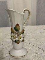 "Vintage Lefton-style Pitcher/Vase 5 1/2"" w/3D flowers JAPAN"