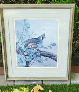 Sherrie Russell Meline Lithograph Signed Mountain Quail Framed And Matted Signed