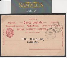 MS2196 1897 Switzerland Answer Part Reply Card/Forwarding agent/France/T. Cook