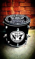 Upcycled * JACK DANIELS * Floor Tom Drum Coffee/Side Table with storage inside.