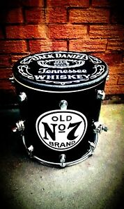 Upcycled * /JACK DANIELS * Floor Tom Drum Coffee/Side Table with storage inside.