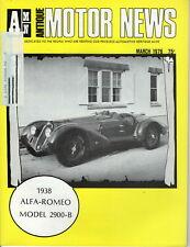 1938 ALFA-ROMEO MODEL 2900-B - AMN Antique MOTOR NEWS Magazine, March 1976 Issue