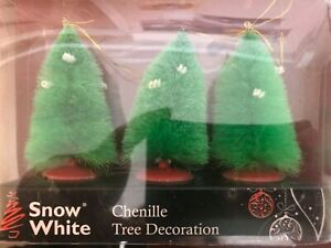 Chenille Christmas Tree Hanging Decorations 3 Pack 6.5CM