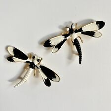 Dragonfly Rhinestone Pins Brooches Set Vintage 1960s Weiss Black White