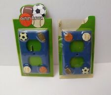 Lot of 2 Blue Sports Outlet Covers Decorative Kid's Bedroom Plate by Double Nice