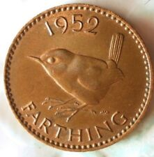 1952 GREAT BRITAIN FARTHING - Excellent Coin - FREE SHIP - Farthing Bin #2