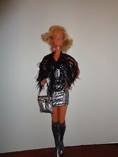 "PRETTY  SILVER AND BLACK DRESS WITH SHAWL  OUTFIT FOR 18"" SUPER SIZE BARBIE DOLL"