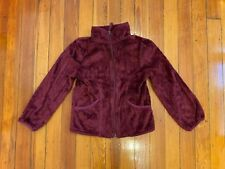 The Children's Place Girls Faux Fur Jacket Zip Front Soft Shell Burgundy Size S