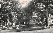 Waupaca Wisconsin~Civil War Veterans Home Park~Band Stand~Man on Bench~1909 PC
