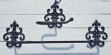 Vintage Antique Old Style Toilet Roll Holder & towel rail Wall Mounted Cast Iron