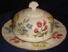 MH098 Vtg Paragon English Flowers Bone China Butter Dish